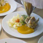 Suprême de pintade farçi aux pleurottes - Tagliatelles et mousseline de butternut