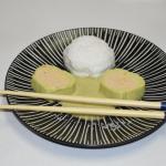 Œuf poché et son sushi de poireau saumon