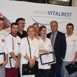 M. Poulenc, Bernard Leprince, et des participants au Concours Culinaire Vital'Chef 2018